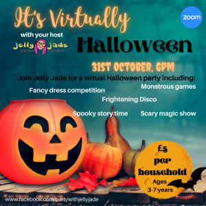 a pumpkin sits smiling in the left hand corner with It's Virtually Halloween in big letters for Jelly Jade's Halloween event